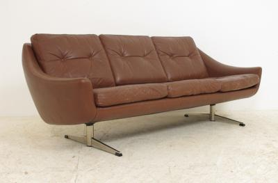 1960s Retro DANISH CHROME LEATHER 3 SEAT THAMS SOFA Vintage EBay