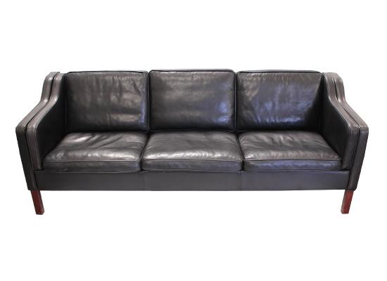 classic danish 3 seat leather sofa