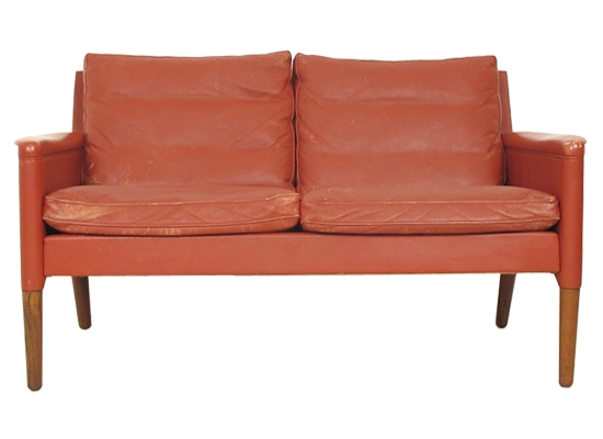2 seat leather and feather sofa model 55