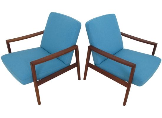 danish teak easy chairs orange and brown