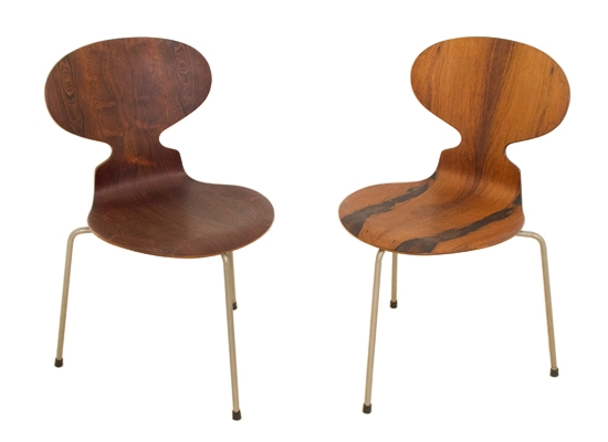 Arne Jacobsen Rosewood Ant Chairs Orange And Brown