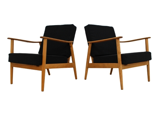 a pair of teak and beech danish chairs