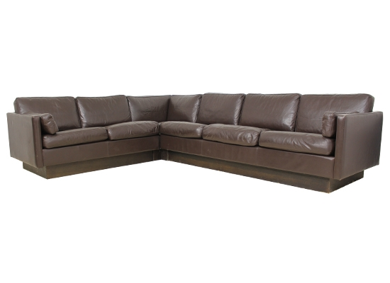 danish thams leather and feather corner sofa