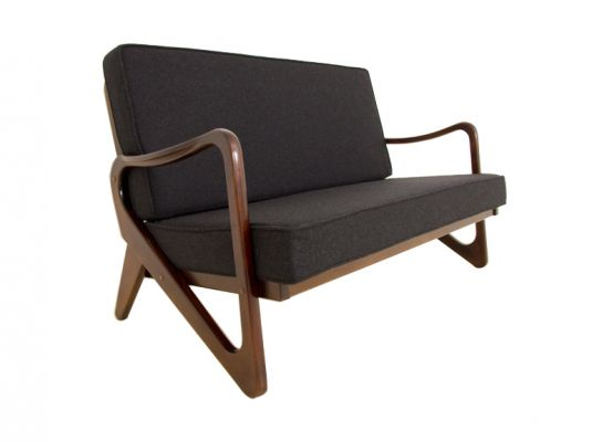 1950s Danish 2 Seat Oak Sofa