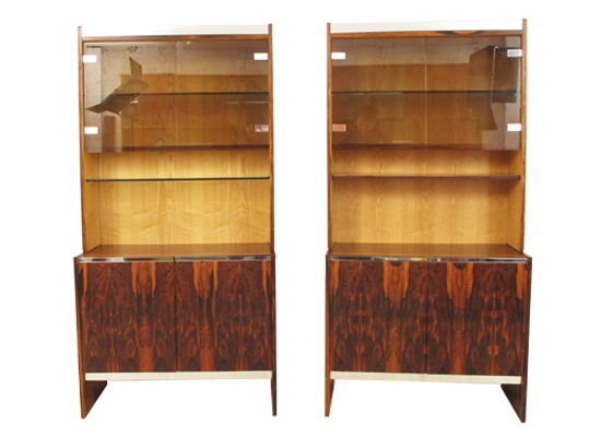 a pair of rosewood and chrome merrow cabinets