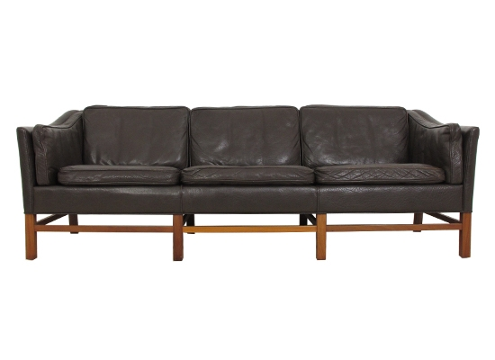 classic danish feather and leather sofa