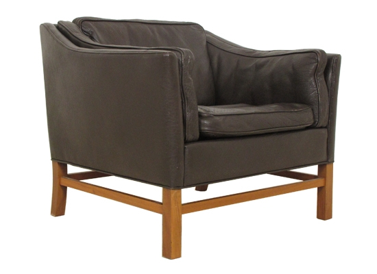 classic danish feather and leather chair