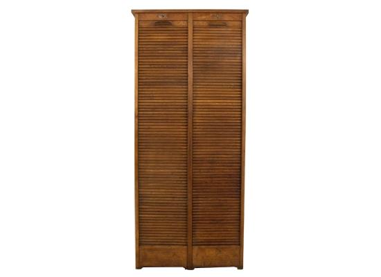 vintage oak tambour door cabinet