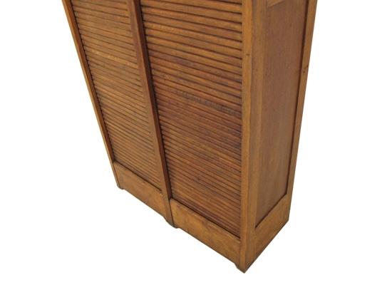 Vintage Oak Tambour Door Cabinet Orange And Brown