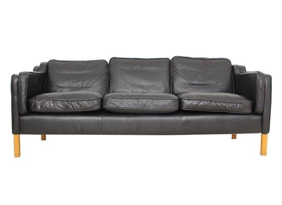 borge mogensen style black 3 seat sofa