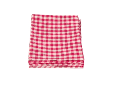 Linen Kitchen Cloth Pink White Check