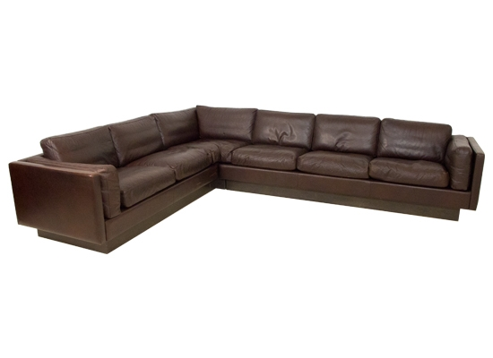 Large Danish Leather And Feather Corner Sofa Orange And Brown