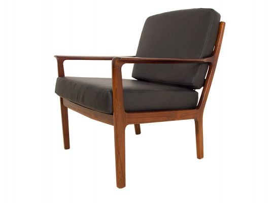 pair of danish rosewood chairs orange and brown
