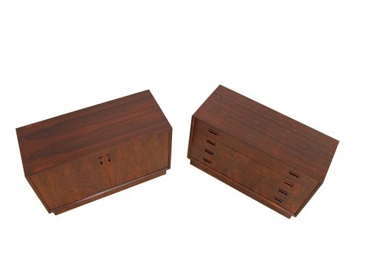 A rosewood chest of drawers and matching cabinet