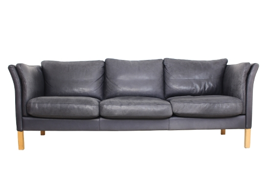 3 seat classic  danish leather and feather sofa