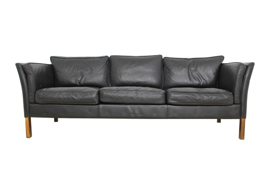 danish 3 seat leather and feather sofa