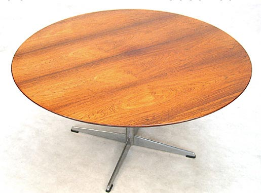 Rosewood - Chrome Round Coffee Table