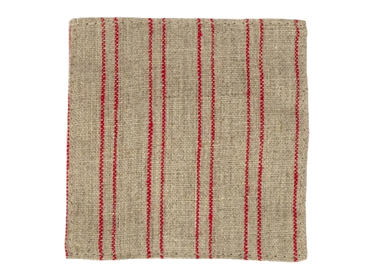 linen coaster natural red strip