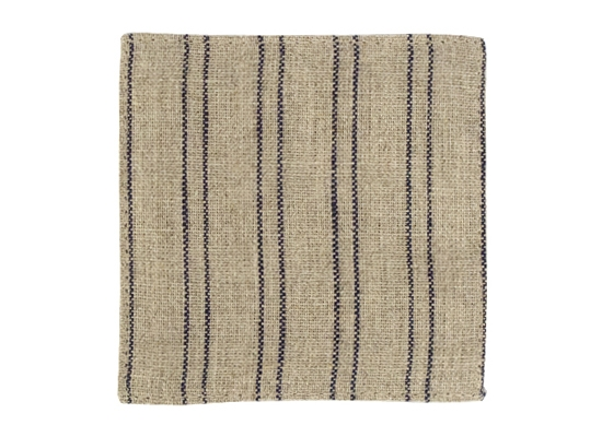 linen coaster natural blue strip