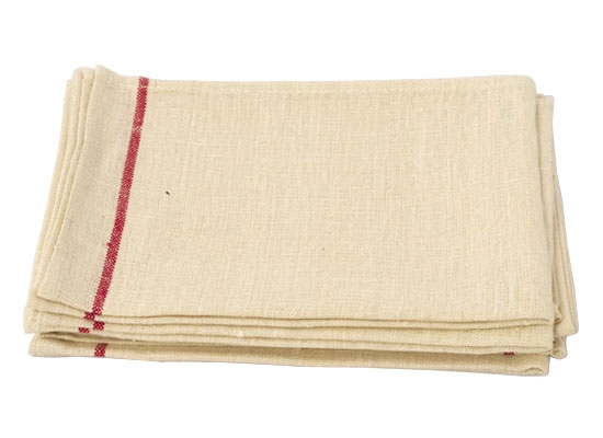 thick linen kitchen cloth white and red stripe