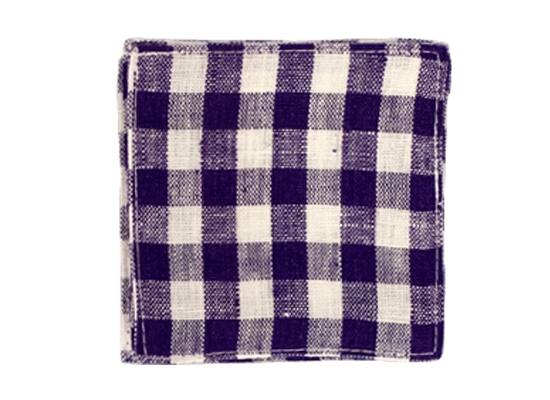 linen coaster purple white check