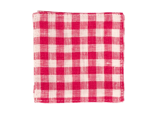 linen coaster pink white check