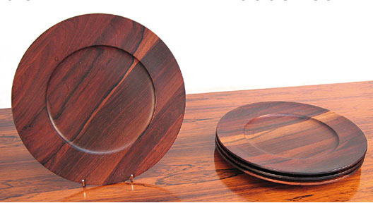 4 Solid Brazilian Rosewood Plates