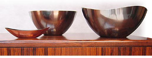Modernist Polished Danish Bowls