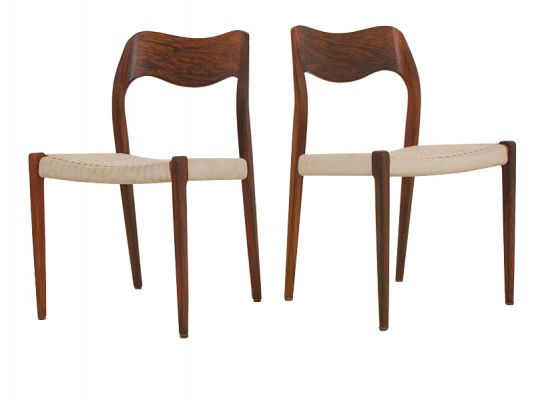 6 Rosewood & String Dining Chairs model 71