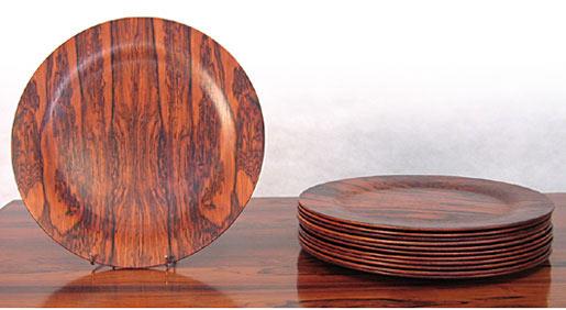 Twelve Solid Brazilian Rosewood Plates