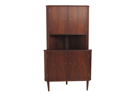 a pair of rosewood corner cabinets