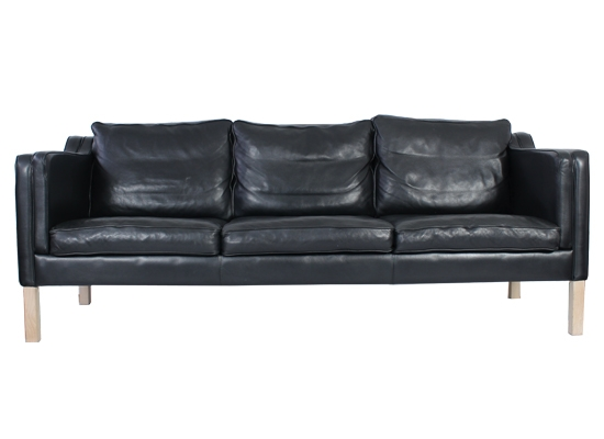 mogens hansen 3 seat feather and leather sofa