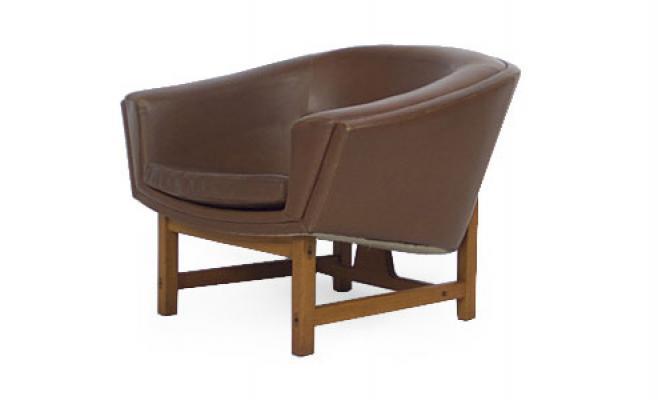 Teak and Leather Corona Chairs