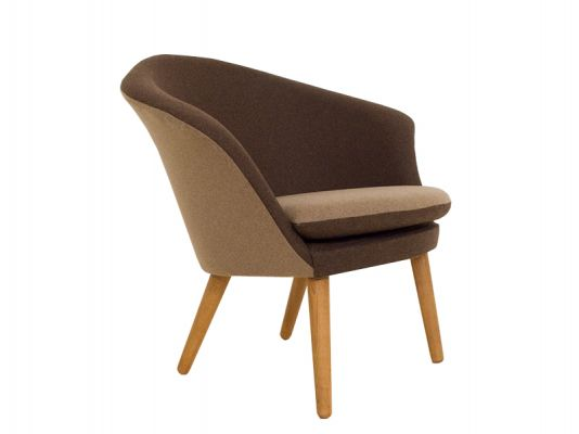 Oak And Brown Wool Chair Model 401
