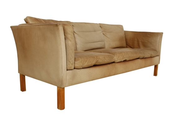Tan Natural Leather And Feather Danish Sofa Orange And Brown