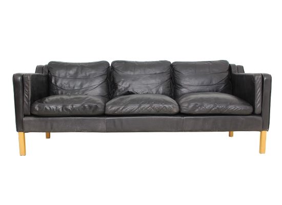 black leather and feather danish sofa