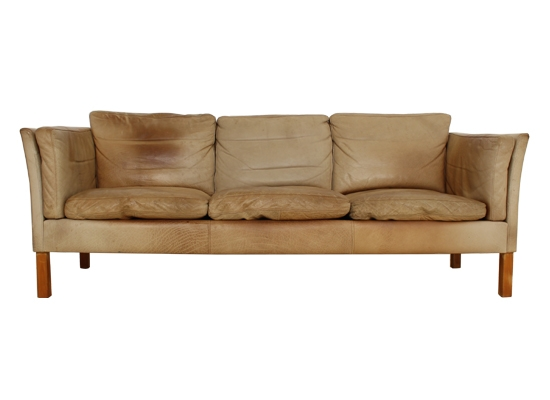 tan natural leather and feather danish sofa