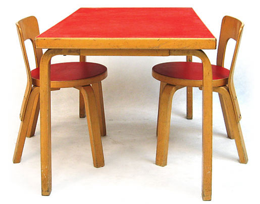 2 Aalto 65 Children's Chairs-One 81a Table