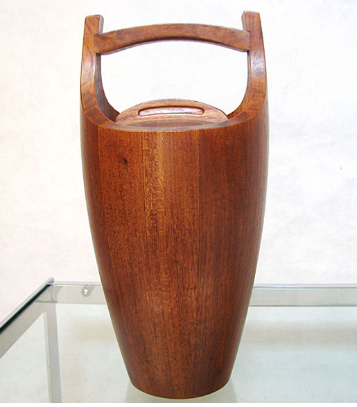 Large Staved Teak Ice Bucket