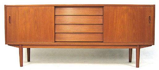Teak Triple Fronted Long And Low Sideboard
