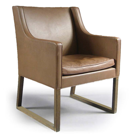 Mogensen Leather - Stained Oak Model 3246 Arm Chair