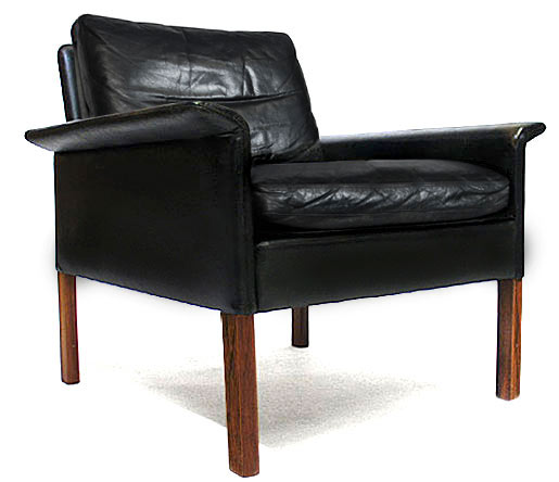 Leather, Rosewood - Goose Down Easy Chair Model 500