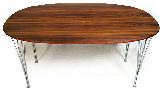 Superellipse Rosewood - Chrome Dining Table
