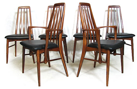 6 Leather - Rosewood Eva Dining Chairs