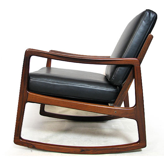 Leather - Solid Brazilian Rosewood Rocking Chair Model 110