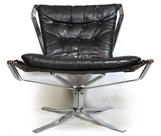 Leather - Chrome Plated Steel Falcon Chair