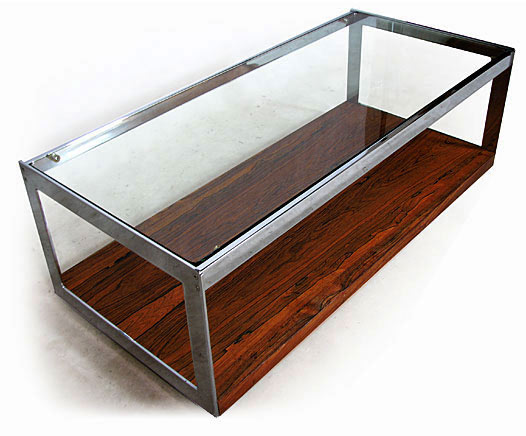 Chrome Plated Steel, Glass - Rosewood Coffee Table