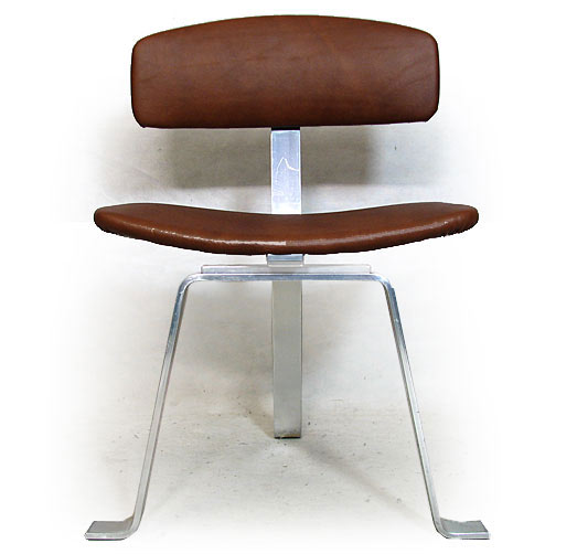 Polished Aluminium - Leather Side Chair