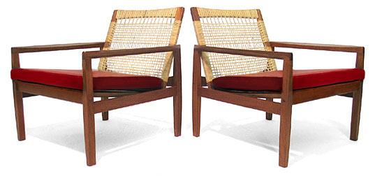 Teak Leather - Cane Easy Chair