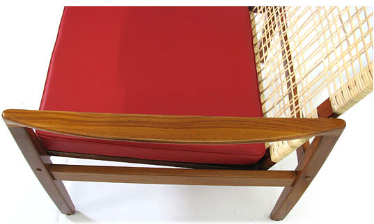 Teak Leather   Cane Easy Chair